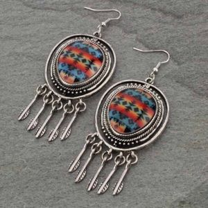 Jewelry - Circle Western Navajo Print Fish Hook Earrings
